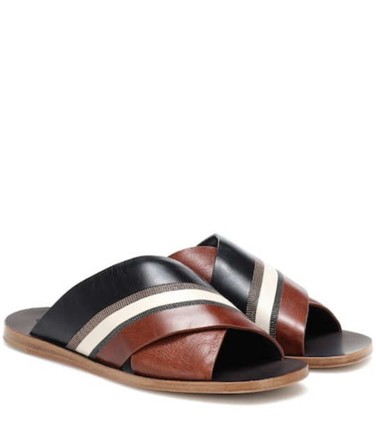 Brunello Cucinelli Embellished leather sandals in brown