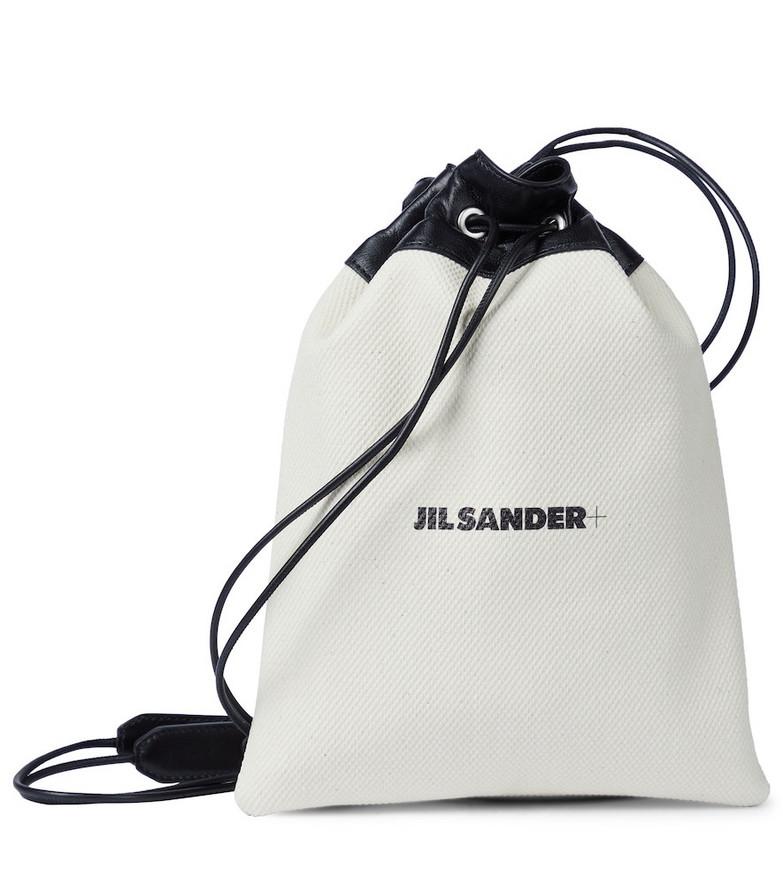 Jil Sander Drawstring canvas pouch in white