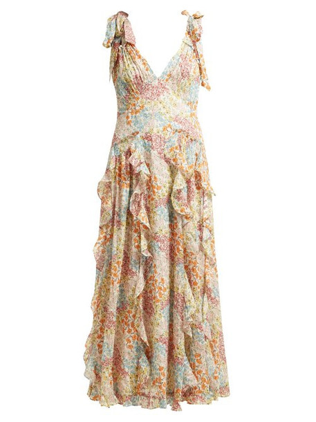 Rebecca Taylor - Ava Floral Print Ruffle Silk Blend Dress - Womens - Multi