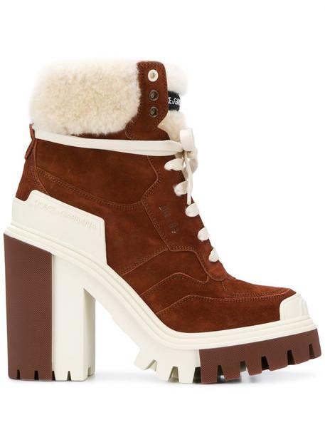 Dolce & Gabbana high-heeled trekking boots in brown