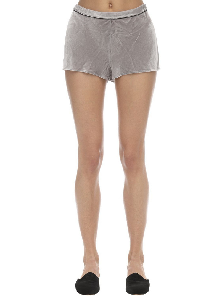SLEEPING WITH JACQUES Velvet Shorts in grey