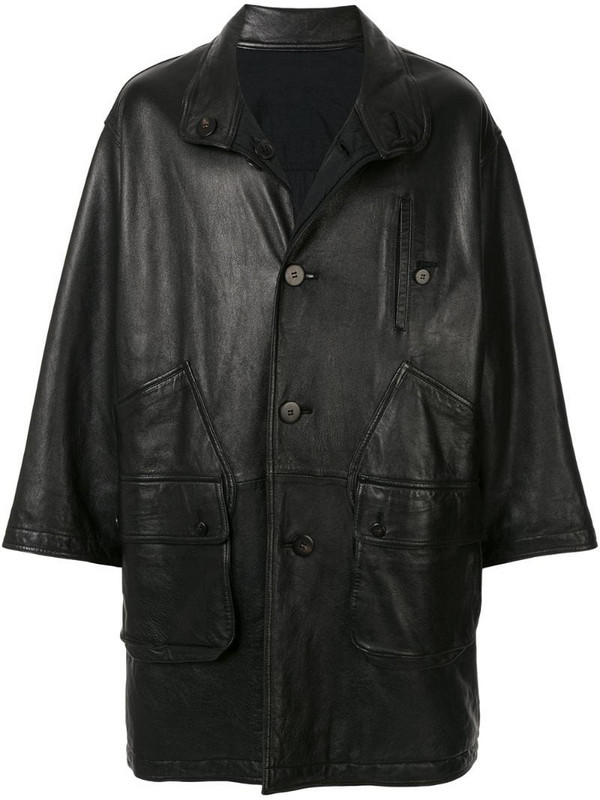 Issey Miyake Pre-Owned 1980's Sport Line reversible leather coat in black