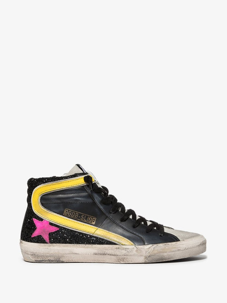 Golden Goose black, yellow and purple slide leather high top sneakers