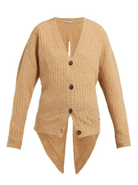 Miu Miu - Tie Back Wool Cardigan - Womens - Beige