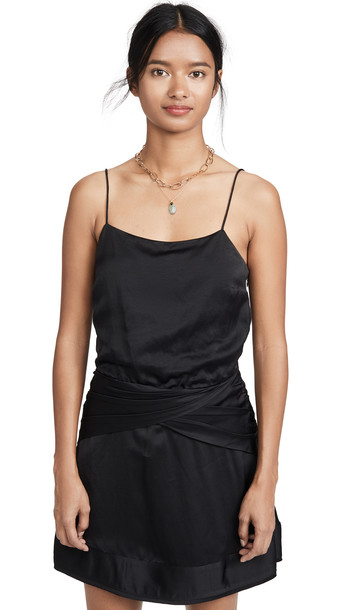 Derek Lam 10 Crosby Cami Flounce Mini Dress with Twist Waist Detail in black