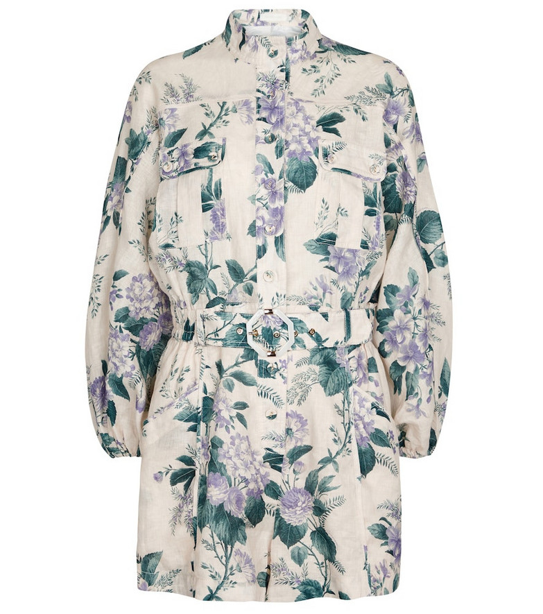 Zimmermann Cassia floral linen playsuit in white