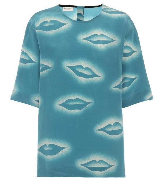 Dries Van Noten Printed silk top in blue