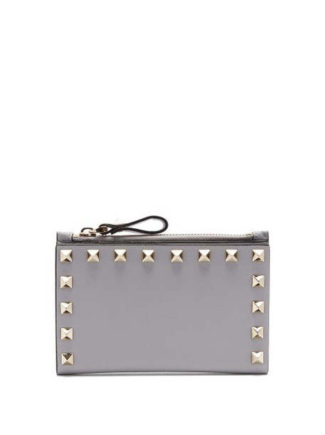 Valentino - Rockstud Leather Card And Coin Purse - Womens - Light Grey