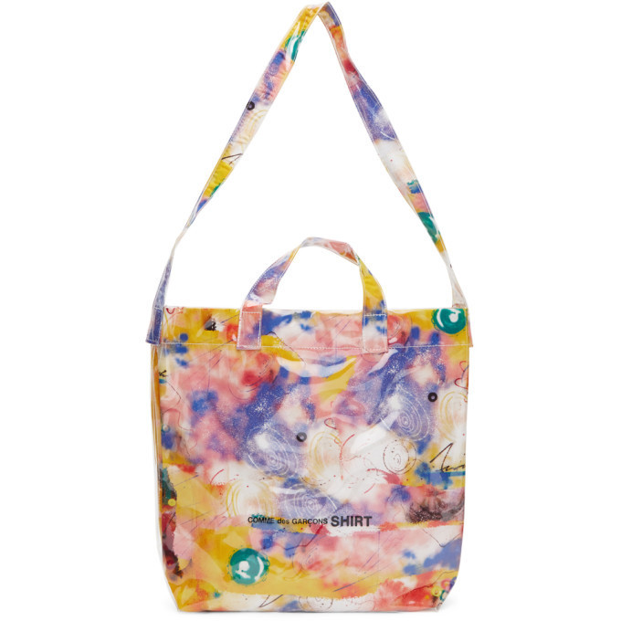 Comme des Garcons Shirt Pink Small Futura Edition Tote in print