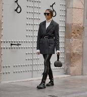 jacket,grey blazer,double breasted,black boots,black leggings,leather leggings,white turtleneck top,black bag
