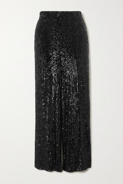 Diane von Furstenberg - Rhiannon Sequined Stretch-tulle Wide-leg Pants - Black