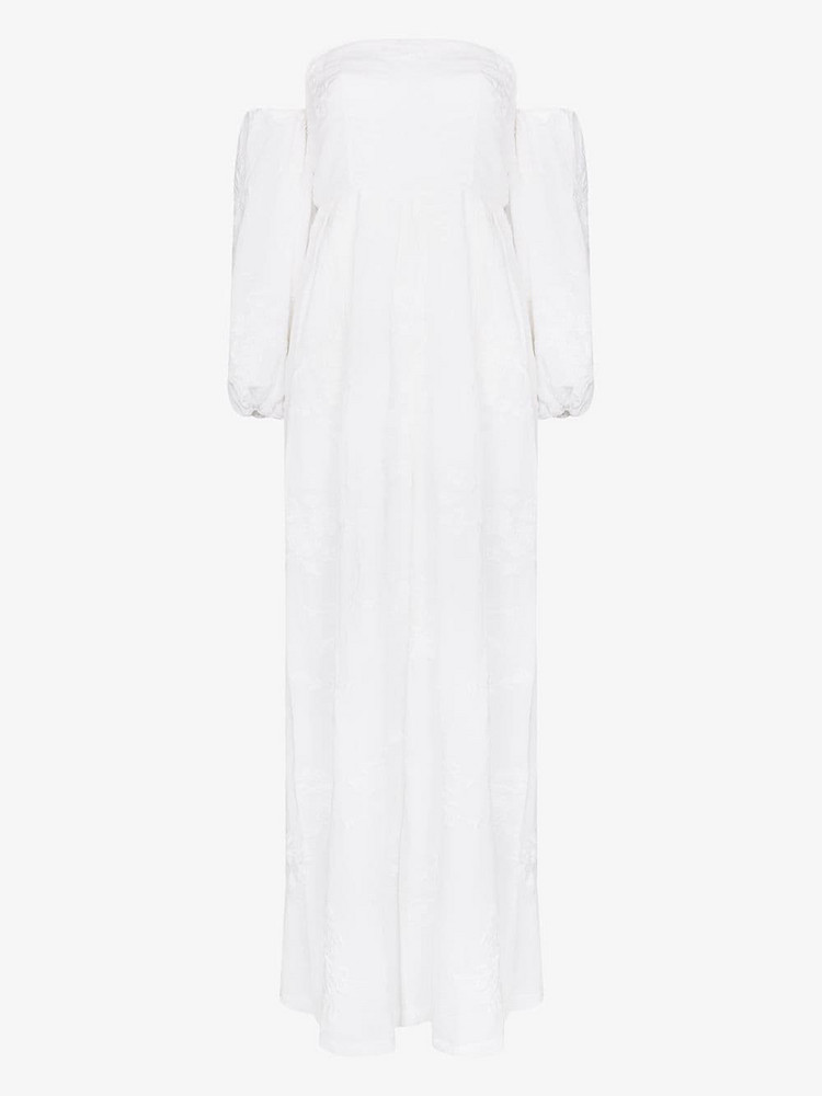 All Things Mochi Manila off-the-shoulder jumpsuit in white
