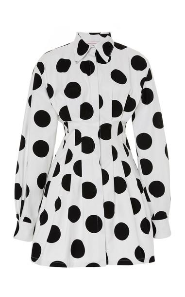 Carolina Herrera Polka-Dot Cotton Dress Size: 0 in black