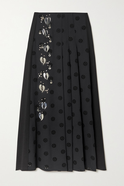CHLOÉ CHLOÉ - Embellished Pleated Broderie Anglaise Cady Midi Skirt - Black