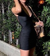 dress,black,mesh back piece,thick straps