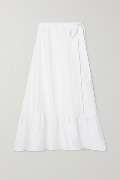 Reformation - Julep Linen Wrap Midi Skirt - White