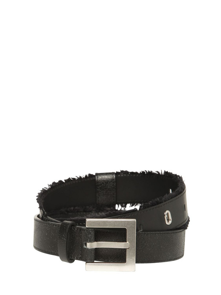 ADER ERROR 3cm Leather Belt W/ Fringe Details in black