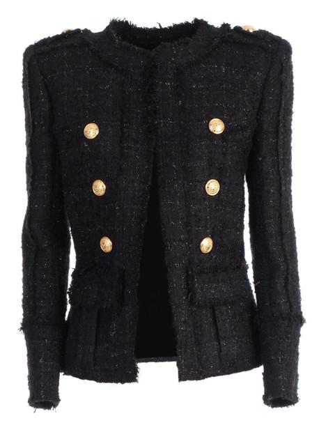 Balmain Double Breasted Tweed Jacket in black
