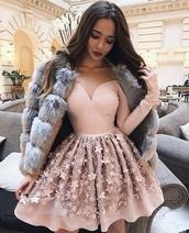 dress,pink,pastel pink,short dress,short prom dress