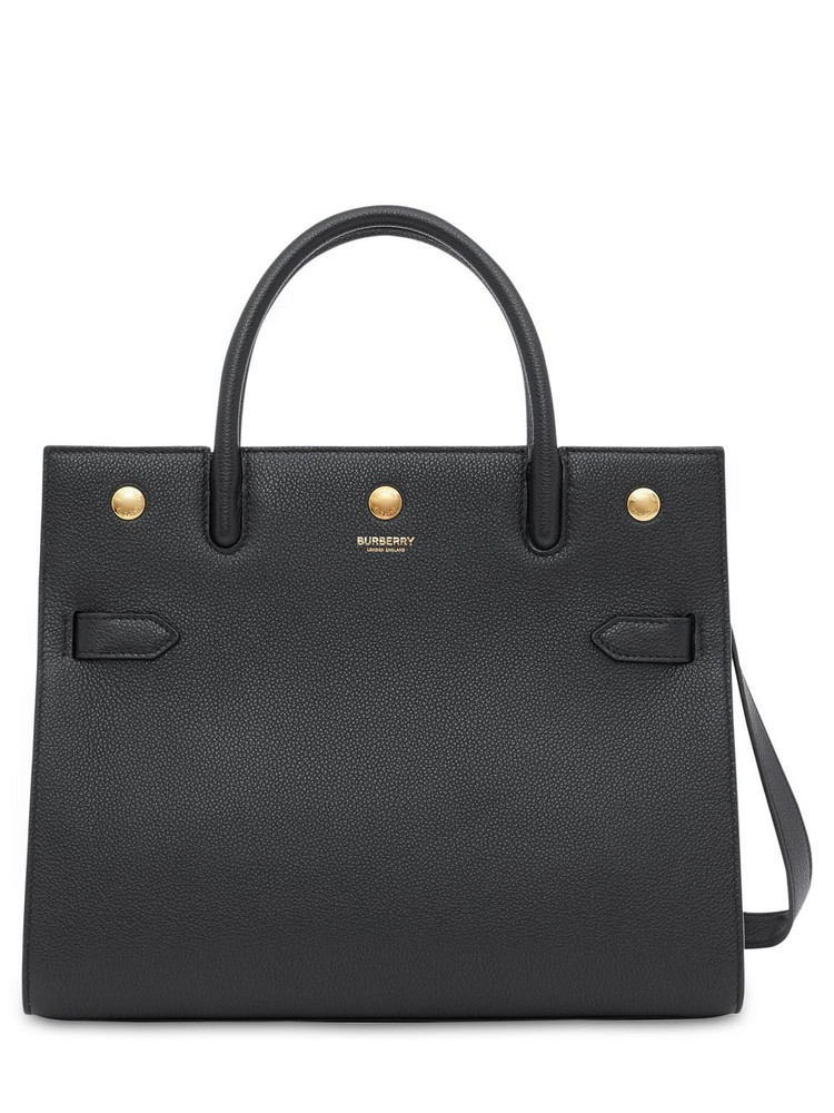 BURBERRY Md Title Grained Leather Top Handle Bag in black