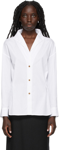 Vince Stand Collar Shirt in white