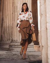 skirt,midi skirt,wrap skirt,high waisted skirt,platform shoes,white blouse,handbag,wood
