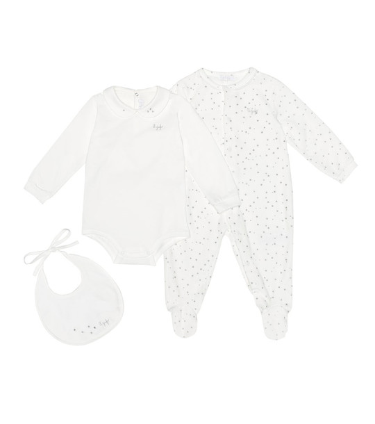 Il Gufo Cotton-blend onesie, playsuit and bib set in white