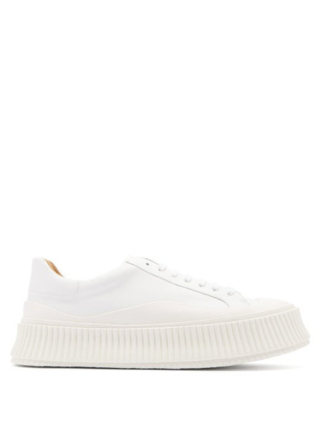 Jil Sander - Ribbed-sole Leather Trainers - Womens - White