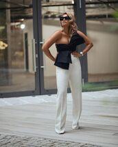 top,black top,crop tops,one shoulder,bow,dries van noten,white pants,wide-leg pants,jacquemus