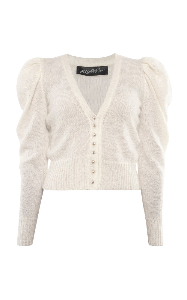 Anna October Clare Wool-Blend Cardigan in white