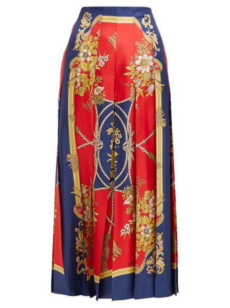 Gucci - Floral Print Pleated Silk Faille Midi Skirt - Womens - Red Print