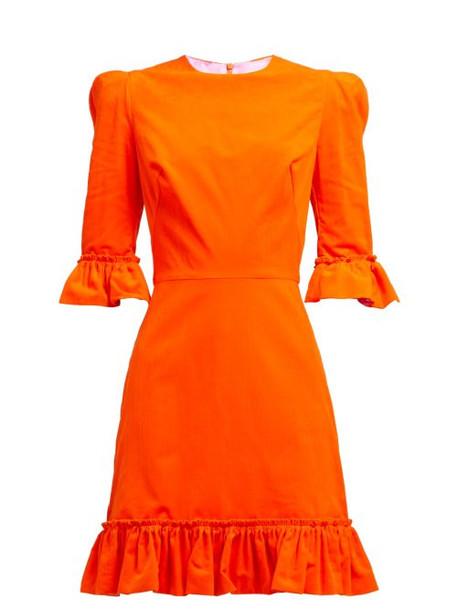 The Vampire's Wife - Festival Ruffle Trimmed Cotton Corduroy Dress - Womens - Orange