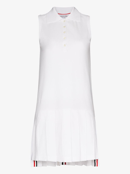 Thom Browne Collared cotton tennis dress in white