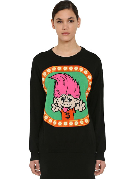 MOSCHINO Embroidered Virgin Wool Knit Sweater in black