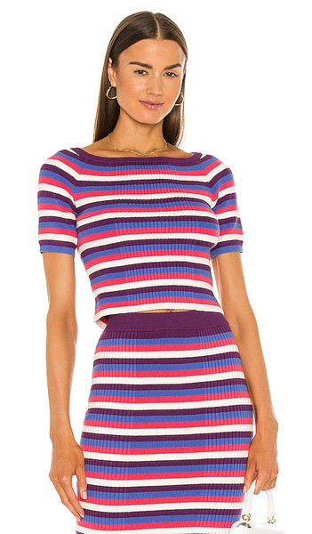 Victor Glemaud Varigated Rib Top in Purple,White in blue / multi
