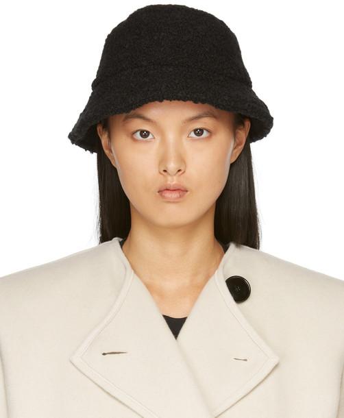 Isabel Marant Black Brushed Wool Denji Bucket Hat