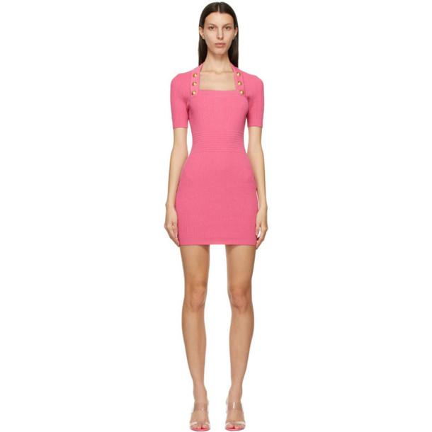 Balmain Pink Knit Viscose Dress in rose