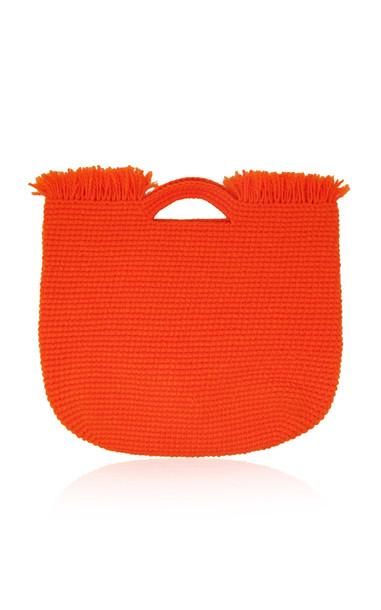 Sensi Studio Wool-Trimmed Straw Carryall Bag in orange