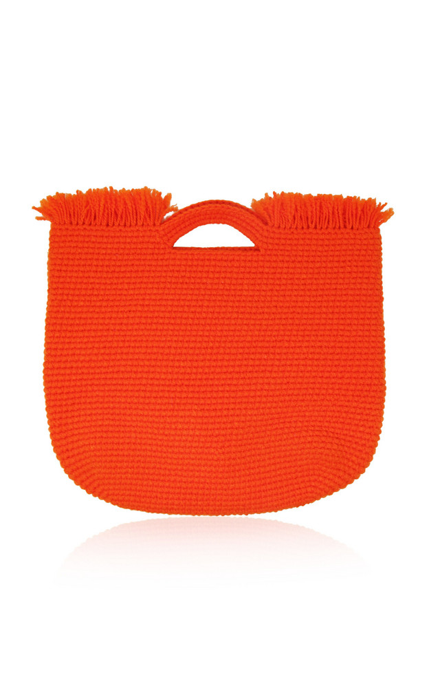 Sensi Studio Wool-Trimmed Straw Carryall Bag in orange
