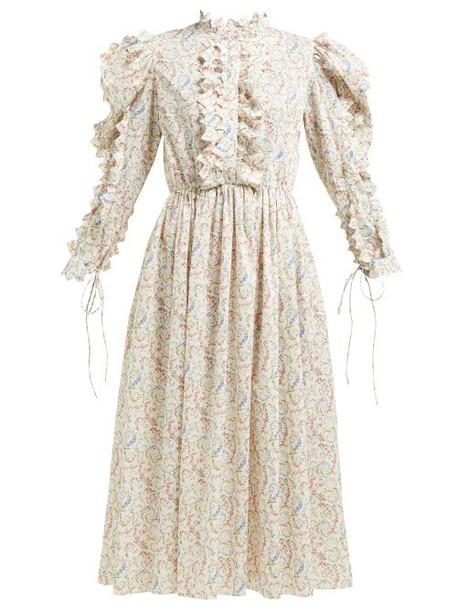 Horror Vacui - Triangula Floral Print Cotton Midi Dress - Womens - Ivory Multi