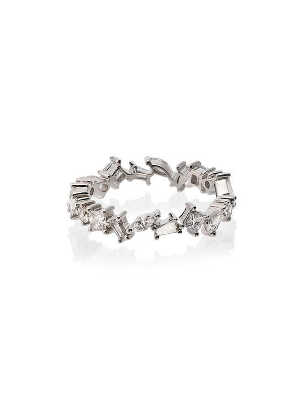 Rosa de la Cruz 18k white gold diamond ring in metallic