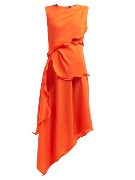 Sies Marjan - Helena Ruffled Crepe Midi Dress - Womens - Orange