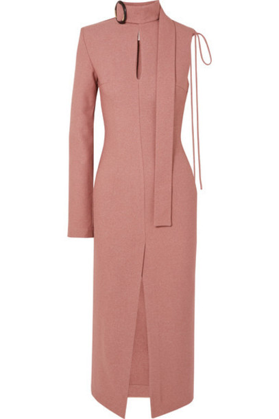 MATÉRIEL - Buckled Cutout Twill Midi Dress - Blush