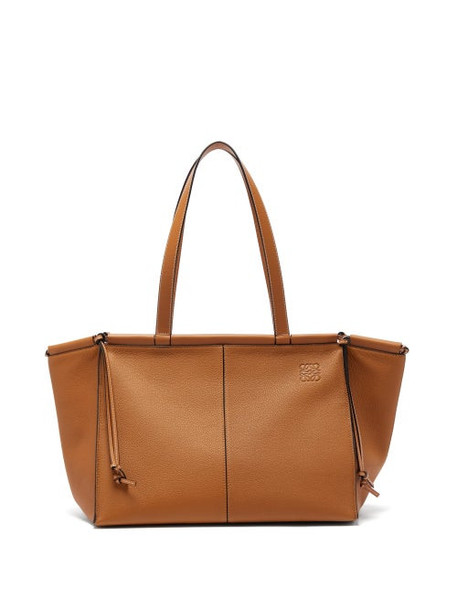 Loewe - Cushion Large Grained-leather Tote Bag - Womens - Tan
