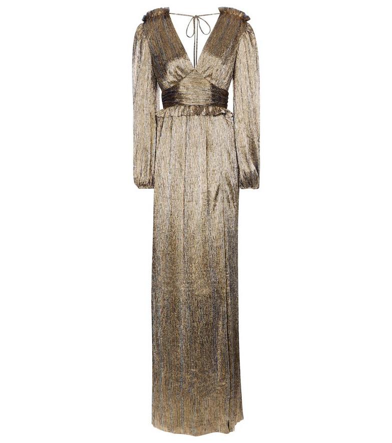 Rebecca Vallance Rivero metallic maxi dress in gold