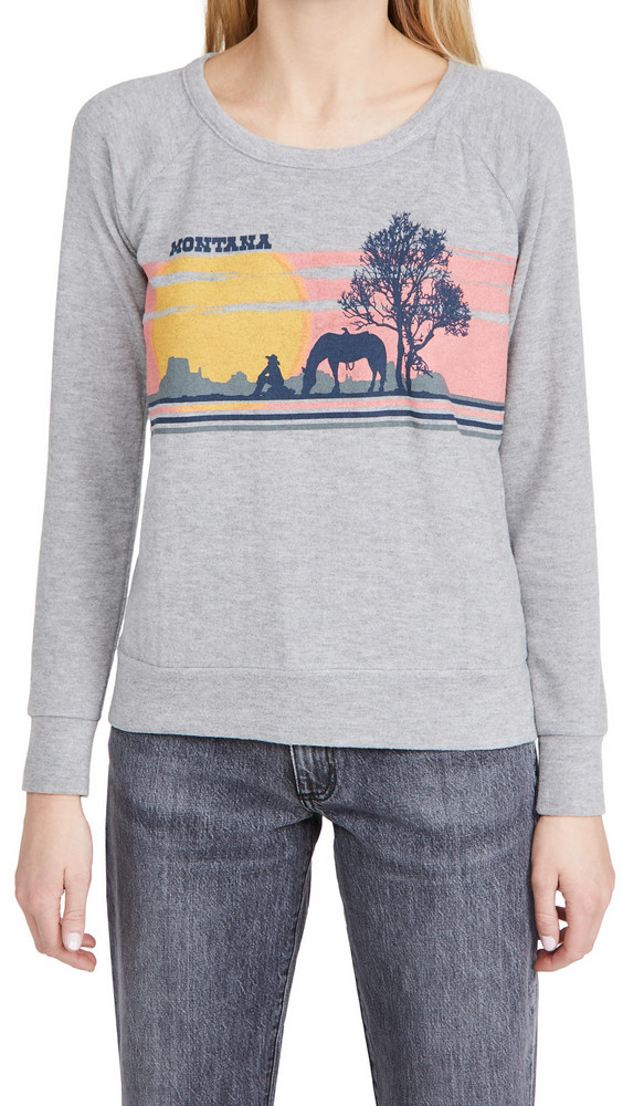 Chaser Love Knit Long Sleeve Raglan Pullover in grey