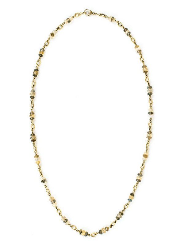 Sylva & Cie 18kt yellow gold opal bead necklace