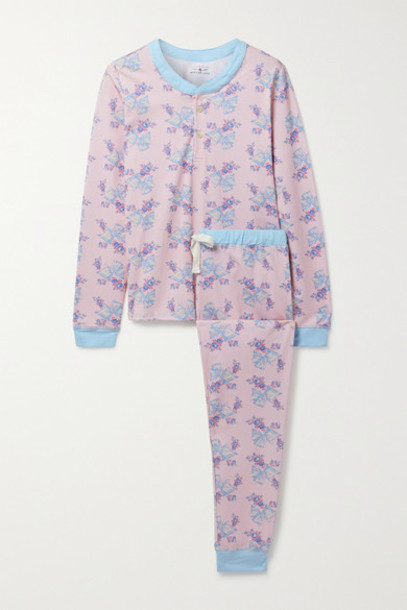 Morgan Lane - Loveshackfancy Kaia Floral-print Stretch-jersey Pajama Set - Baby pink
