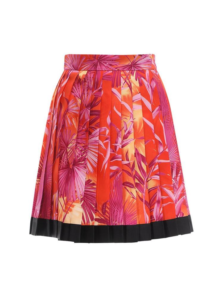 VERSACE Pleated Jungle Print Twill Mini Skirt in orange / fuchsia