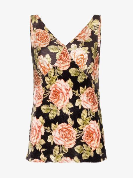 Paco Rabanne sleeveless floral print silk blouse